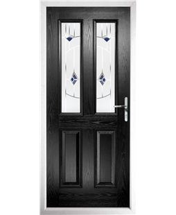 The Cardiff Composite Door in Black with Blue Murano
