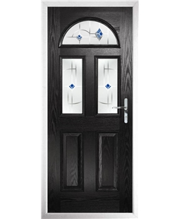 The Glasgow Composite Door in Black with Blue Murano