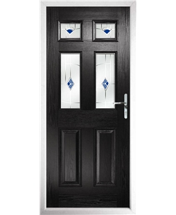The Oxford Composite Door in Black with Blue Murano