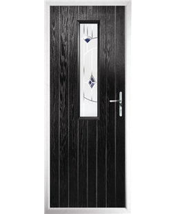 The Sheffield Composite Door in Black with Blue Murano