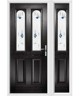 The Aberdeen Composite Door in Black with Blue Murano and matching Side Panel