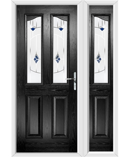 The Birmingham Composite Door in Black with Blue Murano and matching Side Panel