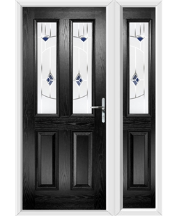 The Cardiff Composite Door in Black with Blue Murano and matching Side Panel