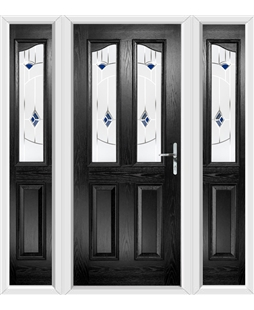 The Birmingham Composite Door in Black with Blue Murano and matching Side Panels