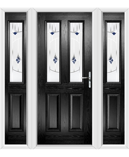 The Cardiff Composite Door in Black with Blue Murano and matching Side Panels
