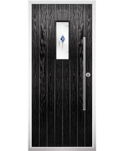 The Zetland Composite Door in Black with Blue Murano