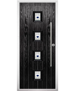 The Leicester Composite Door in Black with Blue Murano
