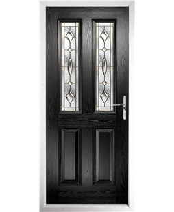 The Cardiff Composite Door in Black with Brass Art Clarity