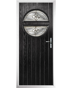 The Queensbury Composite Door in Black with Brass Art Clarity