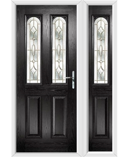 The Aberdeen Composite Door in Black with Brass Art Clarity and matching Side Panel