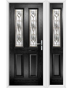 The Cardiff Composite Door in Black with Brass Art Clarity and matching Side Panel