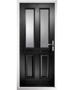 The Cardiff Composite Door in Black with Clear Glazing