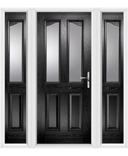 The Birmingham Composite Door in Black with Glazing and matching Side Panels
