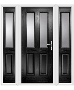 The Cardiff Composite Door in Black with Glazing and matching Side Panels