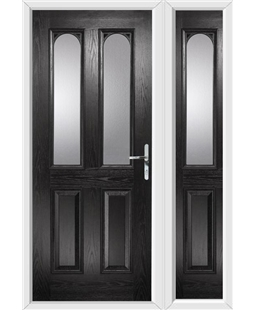 The Aberdeen Composite Door in Black with Glazing and matching Side Panel