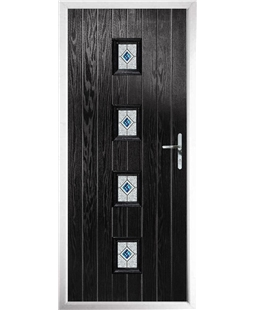 The Uttoxeter Composite Door in Black with Daventry Blue
