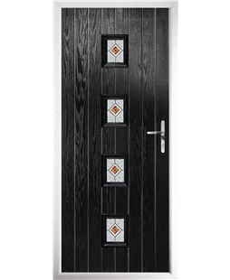 The Uttoxeter Composite Door in Black with Daventry Red