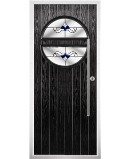 The Xenia Composite Door in Black with Blue Crystal Bohemia
