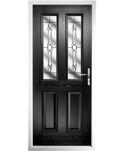 The Cardiff Composite Door in Black with Crystal Bohemia