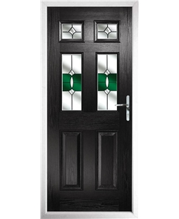 The Oxford Composite Door in Black with Green Crystal Bohemia