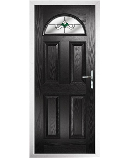The Derby Composite Door in Black with Green Crystal Bohemia