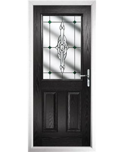 The Farnborough Composite Door in Black with Green Crystal Bohemia