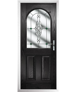 The Edinburgh Composite Door in Black with Green Crystal Bohemia