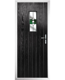 The Taunton Composite Door in Black with Green Crystal Bohemia