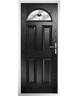The Derby Composite Door in Black with Black Crystal Bohemia