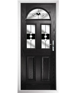 The Glasgow Composite Door in Black with Black Crystal Bohemia