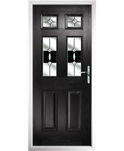 The Oxford Composite Door in Black with Black Crystal Bohemia