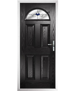 The Derby Composite Door in Black with Blue Crystal Bohemia