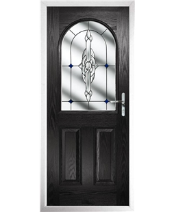 The Edinburgh Composite Door in Black with Blue Crystal Bohemia