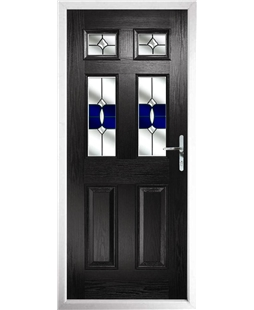 The Oxford Composite Door in Black with Blue Crystal Bohemia