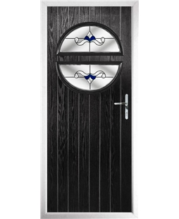 The Queensbury Composite Door in Black with Blue Crystal Bohemia