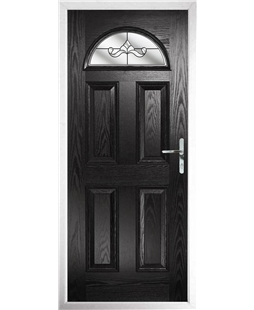 The Derby Composite Door in Black with Clear Crystal Bohemia