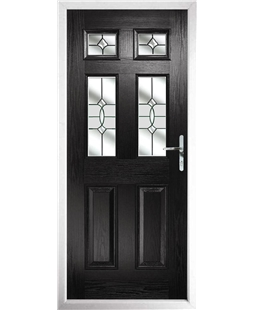 The Oxford Composite Door in Black with Clear Crystal Bohemia