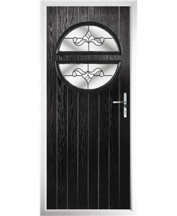 The Queensbury Composite Door in Black with Clear Crystal Bohemia