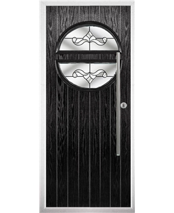 The Xenia Composite Door in Black with Clear Crystal Bohemia