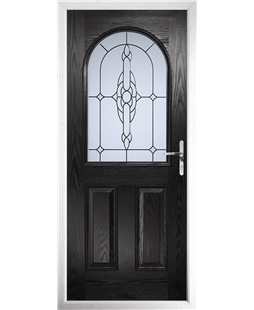 The Edinburgh Composite Door in Black with Crystal Bohemia Frost
