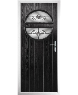 The Queensbury Composite Door in Black with Crystal Bohemia Frost