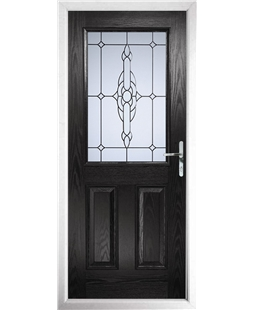 The Farnborough Composite Door in Black with Crystal Bohemia Frost