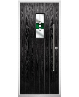 The Zetland Composite Door in Black with Green Crystal Bohemia