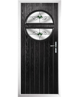 The Queensbury Composite Door in Black with Green Crystal Bohemia