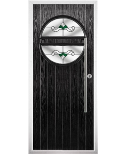 The Xenia Composite Door in Black with Green Crystal Bohemia