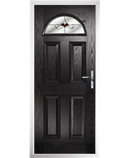 The Derby Composite Door in Black with Red Crystal Bohemia