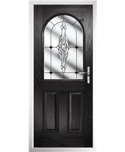 The Edinburgh Composite Door in Black with Red Crystal Bohemia
