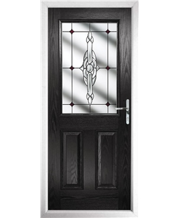 The Farnborough Composite Door in Black with Red Crystal Bohemia