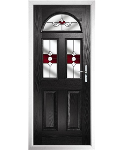 The Glasgow Composite Door in Black with Red Crystal Bohemia