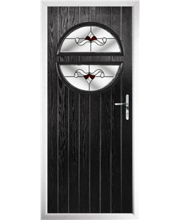 The Queensbury Composite Door in Black with Red Crystal Bohemia